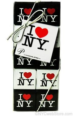 """CitySouvenirs.com - I Love NY Chocolate Square Gift Set, $9.99 (http://www.citysouvenirs.com/i-love-ny-chocolate-square-gift-set/)I Love NY Chocolate Gift Pack  With these New York City mini chocolate bars, you have found the perfect gift for yourself or someone you love! Available with a blank gift card on each I Love NY pack, you can proudly declare """"I Love NY Chocolate!""""  Each pack holding 20 delicious milk chocolate squares measures 2½"""" L x .63"""" W x 6¼"""" H. Kosher product."""