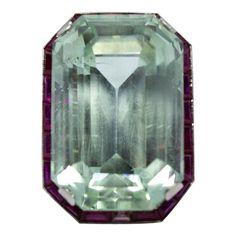 Estate Vintage Antique Art Deco Platinum Ruby and Large Aquamarine Ring Platinum Diamond Rings, Vintage Diamond Rings, Aquamarine Rings, Emerald Cut Diamonds, Art Deco Diamond, Vintage Rings, Colored Diamonds, Round Diamonds, Diamond Cuts