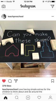 Neat little idea, for block area prompt Preschool Learning, Kindergarten Math, Classroom Activities, Early Learning, Learning Activities, Preschool Activities, Educational Activities, Preschool Block Area, Reggio Classroom