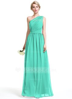 A-Line/Princess One-Shoulder Floor-Length Chiffon Bridesmaid Dress With Ruffle (… A-Linie / Princess-Linie One-Shoulder-Träger Bodenlang Chiffon Brautjungfernkleid mit Rüschen Mob Dresses, Event Dresses, Wedding Party Dresses, Bridesmaid Dresses, Green Bridesmaids, Fashion Dresses, Groom Dress, Custom Dresses, Special Occasion Dresses