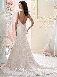 Beaded lace wedding dress, sleeveless tulle and hand-beaded corded lace over luxurious satin fit and flare dress, beaded V-neckline and lace straps, beaded deep plunging scoop back, dropped waistline, scalloped hemline, chapel length train. Style No. » 215266 – Murron (BACK VIEW)