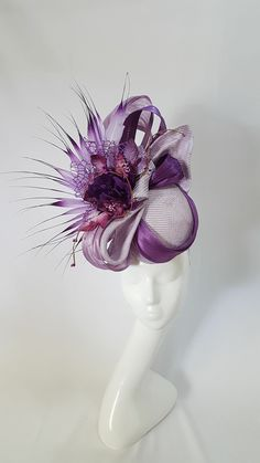 A selection of unique ready made fascinators and headwear available to purchase. Purple Fascinator, Fascinator Hats, Fascinators, Headpieces, Ascot, Millinery Hats, Cocktail Hat, Hats For Women, Ladies Hats