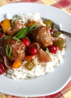 Sweet and Sour turkey meatballs with Cranberries and Peppers (Slow Cooker) by Aimee on Simple Bites
