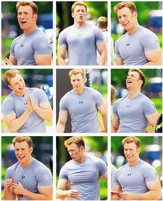 I think Captain Rogers is having some bicep envy from Thor. My eyes are not complaining.