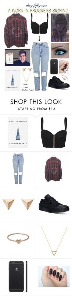 """""""day fifty one, a work in progress signing"""" by roxouu ❤ liked on Polyvore featuring sass & bide, Topshop, Ileana Makri, Converse, Catbird, Wanderlust + Co, o2l, connorfranta and byroxouu"""