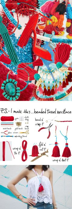 P.S.- I made this...Beaded Tassel Necklace inspired by @bidermanna #PSIMADETHIS #INSPIRATION #DIY