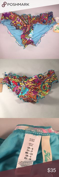 Hobie Peace Love & Paisley Hipster Bikini Bottoms NWT Hobie Peace, Love and Paisley Hipster Bikini Bottoms tab side Sz Small Hobie Swim Bikinis