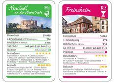Weinpfalz Quartett Kartenspiel - Spielkarten Neustadt und Freinsheim