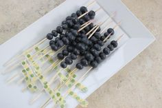 Blueberries on a skewer to use a stirrer for your lemonade drinks. Add a ribbon to skewer for a touch of cuteness!