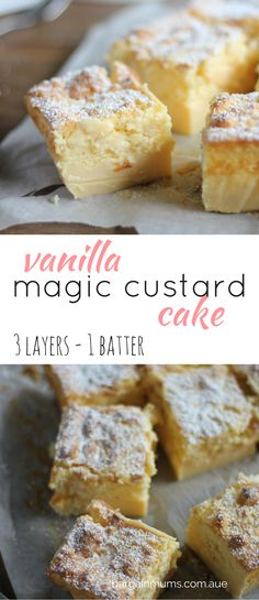 This VANILLA MAGIC CUSTARD CAKE magically separates into 3 layers when baked http://bargainmums.com.au/vanilla-magic-custard-cake