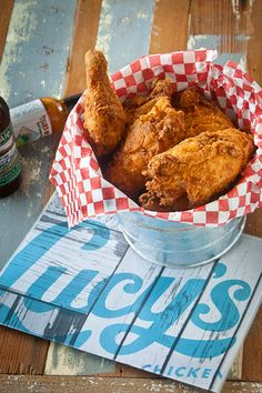 Lucy's Fried Chicken  The amazingly risqué neon sign draws you in, but it's the perfect crispy fried chicken that'll draw you back to Lucy's. This South Austin neighborhood gem has good vibes, a great patio, and one of the best little jukeboxes in town. – Jennifer Rose
