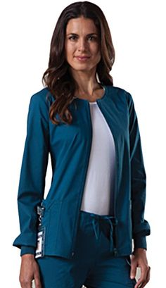Style Code: (CH-4315)  A round neck zip front warm-up jacket, which features two patch pockets, a right side pocket with a sectional pocket and I.D. loop, back yoke, back princess seams for slimming fit, and matching knit cuffs.