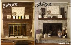 How I updated our fireplace by painting the outdated brass cover and used various techniques for whitewashing the brick. Plus I like the decorating Home Fireplace, Updating House, White Wash Brick, Remodel, Home, Home Diy, Family Room, Brick Fireplace Makeover, Renovations