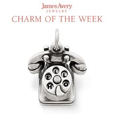 "Inspired by vintage phones, this charm's rotary dial moves to reveal the words ""HELLO MY LUV."" #JamesAvery"