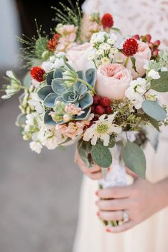 Succulent Wedding Bouquet Idea
