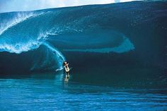 Laird Hamilton lives by pushing the envelope.  Here he takes off on the biggest wave ever ridden at Teahupoo