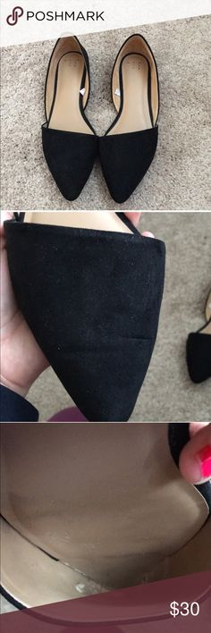 Faux Suede Black Flats Soooo cute and flattering• Soft Faux Suede• only worn 2x.  No holes.  The top front of both shoes is bent from bending while walking • there is some material chipping from the INSIDE OF THE SHOES WHERE YOUR TOES WOULD GO (shown in photo)• no stains • may have minor scuffs or marks   • Offers Welcome • Bundle Discounts • Suggested User A New Day Shoes Flats & Loafers