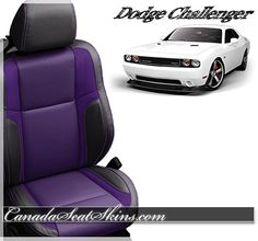 All New Dodge Challenger Purple and Black Leather with Purple Stitching Upholstery Package - canadaseatskins.com #challenger #leatherseats #automotiveleather