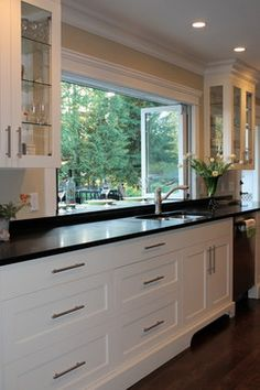 White Shaker Cabinets Design Ideas, Pictures, Remodel, and Decor - page 9 would want to open up the bar window like this. Kitchen Window Bar, Kitchen Redo, Home Decor Kitchen, Kitchen Living, New Kitchen, Home Kitchens, Kitchen Remodel, Kitchen Design, Kitchen Wrap