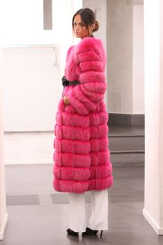 Pink Dyed Silver Fox Fur Coat