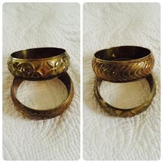 2 Vntg brass bangles! Pair of vintage hollow brass bangles. Great vintage condition! Price firm.❌offers❌trades Vintage Jewelry Bracelets