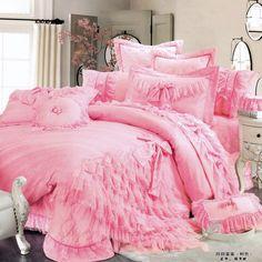 luxury lace ruffle bow bedding sets,romantic,unique princess duvet cover set,king,queen,2 color on Aliexpress.com