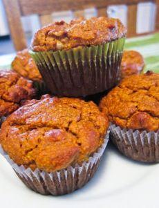 pumpkin paleo muffins: 1 cup almond flour/meal 1 cup canned pumpkin 2 eggs 1/4 cup almond butter 1/4 cup honey 1 tsp baking powder 1 tsp cinnamon 1/2 tsp pumpkin pie spice 1/4 tsp salt 3/4 cup chopped walnuts