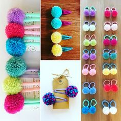 Unique hand made pom pom hair accessories and gifts by Tiddlyompompomgifts Unique hand made pom pom hair accessories and gifts by Tiddlyompompomgifts Crafts To Do, Yarn Crafts, Crafts For Kids, Arts And Crafts, Pom Pom Mobile, Crochet Hair Accessories, Crochet Bows, Pom Pom Crafts, Fabric Yarn