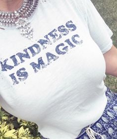Magic is Kindness graphic tee by The Light Blonde with distressing paired with a crystal statement necklace found on eBay and my Spell and the Gypsy Oracle indigo maxi skirt. #graphictee #thelightblonde #kindnessismagic #melissastees #statementnecklace #spellandthegypsy #oraclemaxi #fashionblogger #teeshirt #teejunkie #dlitefultrends #blog check out my blog post on affordable statement necklaces #trends at www.dlitefultrends.blogspot.com xoxo
