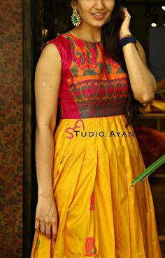 Stylish Kurti Neck Designs for Women - Kurti Blouse Kurti Neck Designs, Dress Neck Designs, Kurta Designs Women, Kurti Designs Party Wear, Blouse Designs, Churidhar Designs, Kalamkari Dresses, Anarkali Dress, Punjabi Dress