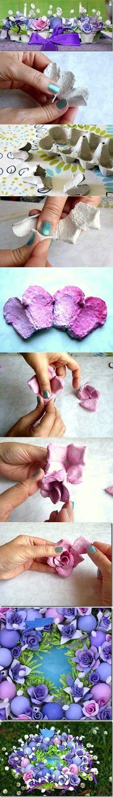 Tarif Dunyam: Yumurta kolisinden Çiçek Yapımı