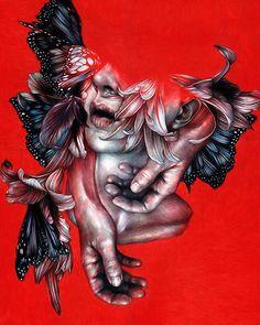 """Immune"" (series) - Marco Mazzoni, portraits morphing into surreal floral and fauna, colored pencil portrait drawing. #noveltechnique marcomazzoni.tumblr.com"