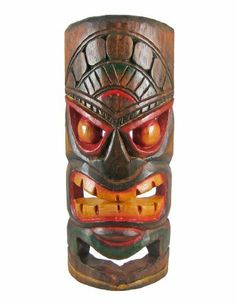 Hand Carved Grimacing Tiki Wooden Wall Mask by Things2Die4. $14.99. 11 Inches Tall. Hand Painted. Hand Carved. This awesome looking tiki wall mask, with a menacing grimace on his face, is hand-carved from Indonesian Albessia wood, and hand-painted with red and orange paints to show off the detail. Measuring 11 inches tall, 4 inches at its widest and 2 inches deep, it looks great on walls in patios, living rooms, offices, bedrooms, even in kitchens.