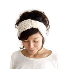 Chunky Knit Turban Headband Cream. £18.00, via Etsy.
