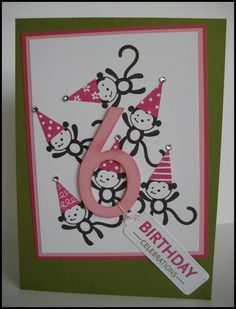 Cute little monkeys!!!  Im liking the number surrounded by six monkeys....maybe punchart owls instead??