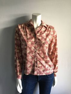Vintage Women's 70's Disco Blouse, Floral, Mauve, Long Sleeve, Top by Lucia (S) by Freshandswanky on Etsy