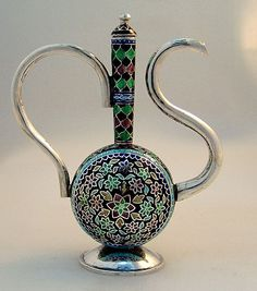 Miniature Sterling Silver Enamel Turkish Coffee Pot 1960