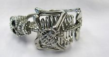 Silver Plated Skeleton Bones Crystal Skull Bangle Bracelet New # 6309 Goth