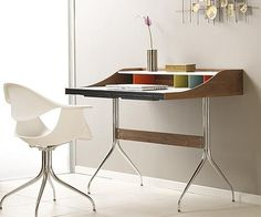 Nelson Swag Leg Desk by George Nelson. Chair by Eames. This desk is so colourful and the shape would be very functional. I love the baby blue in the Eames chair as it's such an unusal colour for a chair. George Nelson, Office Furniture, Furniture Design, Entryway Furniture, Luxury Furniture, Small Writing Desk, Mid Century Desk, Charles Eames, Workspace Design