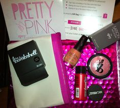 Ipsy April - pretty in pink theme - was impressed with this first package - powder hair volumizer, mica shimmer eye shadow powder, bright pink blush (shattered though), light, neutral pink nail polish. These were all full size and a cute make up bag included!