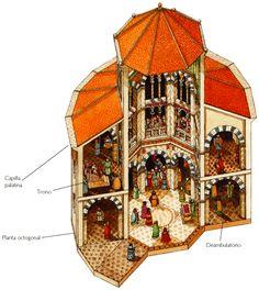 Capilla Palatina de Aquisgrán. Alemania (siglos VIII-IX). El piso superior estaba reservado al emperador y la corte.