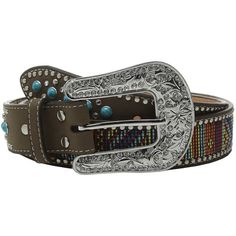 M&F Western Turquoise Stone Tab Belt with Beaded Embroidery Women's... ($49) ❤ liked on Polyvore featuring accessories, belts, embellished belt, cowboy buckle belts, embroidered belt, m&f western and beaded belt