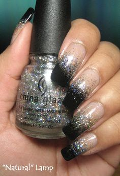 My Simple Little Pleasures: NOTD: New Year's Bling Silver & Black Sponging + Tutorial