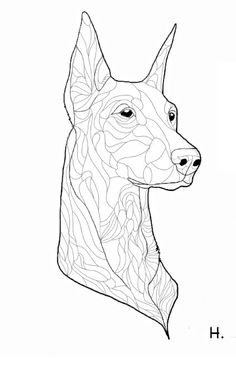 Doberman Dog Coloring Page For National Pet Day Greeting