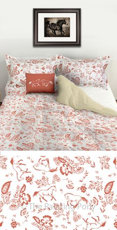 Whimsical and chic equestrian duvet bedding set! Stylish coral and white colors with a country floral pattern with galloping horses all over. Coordinating accent pillows make this a really great set for the horse lover!