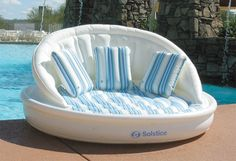 Aqua sofa lets you to comfortably float in your swimming pool.