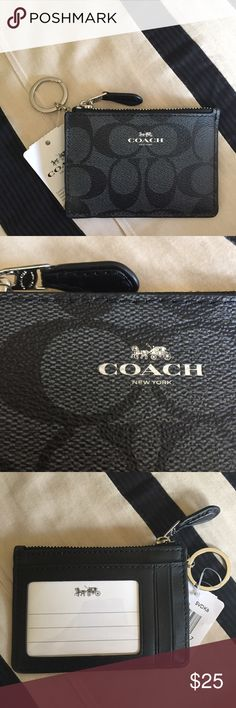 "[$ FIRM] Coach Mini Skinny Id Case in Black/Smoke ✨NWT✨ Brand new! The inside can fit credit cards, cash and coins. Measurements are 4"" (L) x 3"" (H). ❗️Price on this item is firm❗️ Coach Accessories Key & Card Holders"