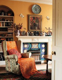 From the archive: Cressida Bell (House and Garden) Bloomsbury Cressida Bell, English Homes, Vanessa Bell, Bloomsbury Group, Fireplace Seating, Interior And Exterior, Interior Design, English Decor, Living Spaces