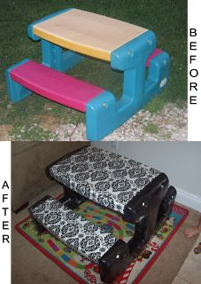 Cover a dingy plastic table with spray paint and vinyl over cloth - looks so much better, and is easy to clean up.