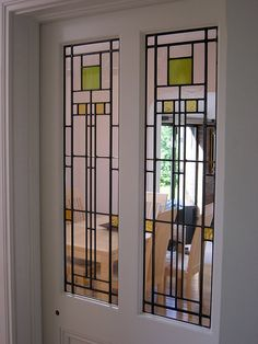 Art Deco leaded glass door panels.